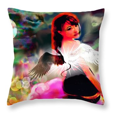 Throw Pillow featuring the digital art Saint Or Sinner #3 by Diana Riukas
