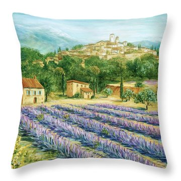 Saint Paul De Vence And Lavender Throw Pillow by Marilyn Dunlap