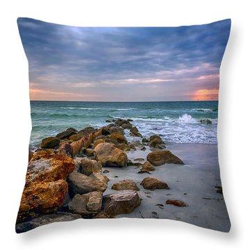Saint Pete Beach Stormy Sunset Throw Pillow