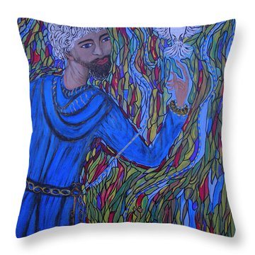 Throw Pillow featuring the painting Saint Peter by Marie Schwarzer