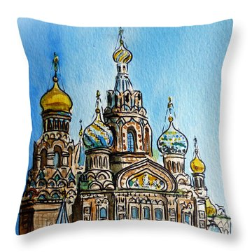 Saint Petersburg Russia The Church Of Our Savior On The Spilled Blood Throw Pillow