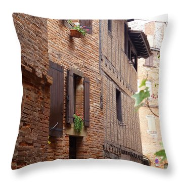 Saint-salvi Backstreet In Albi France Throw Pillow by Susan Alvaro