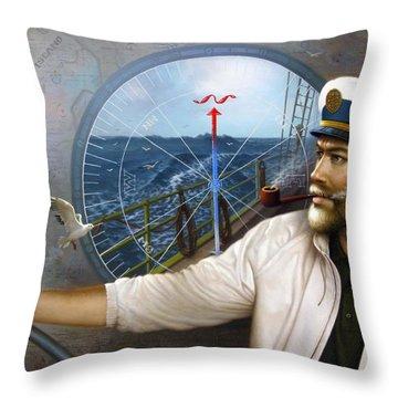 Saint Simons Island Map Captain 3 Throw Pillow