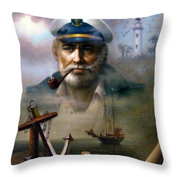 Saint Simons Island Sea Captain 2 Throw Pillow
