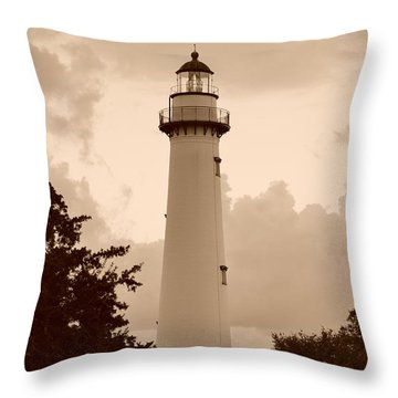 Saint Simons Lighthouse In Sepia Throw Pillow by Bob Sample