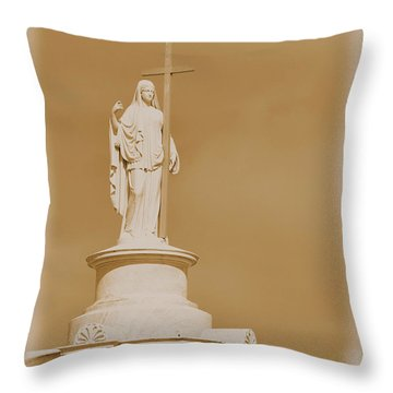 Throw Pillow featuring the photograph Saint With A Cross by Nadalyn Larsen