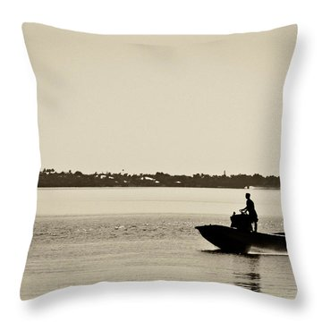 Saintlucieboating Throw Pillow by Patrick M Lynch