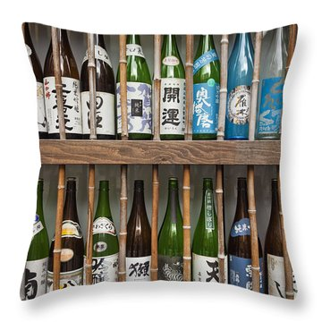Sake Bottles Throw Pillow