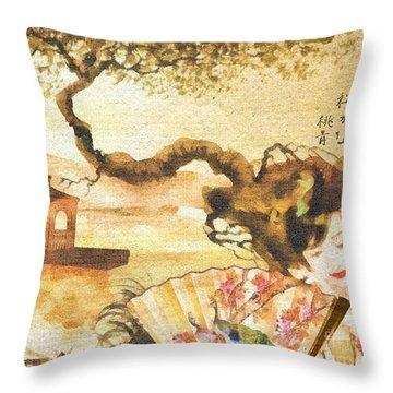 Sakura Throw Pillow by Mo T