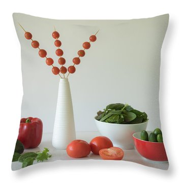 Cherry Tomato Throw Pillows