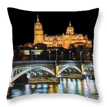 Salamanca At Night Throw Pillow by JR Photography