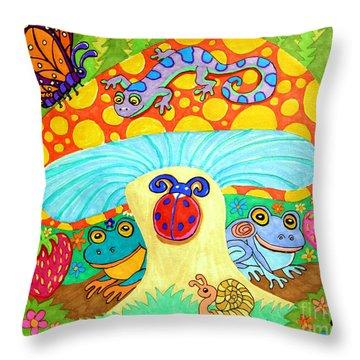 Salamander And Friends Throw Pillow