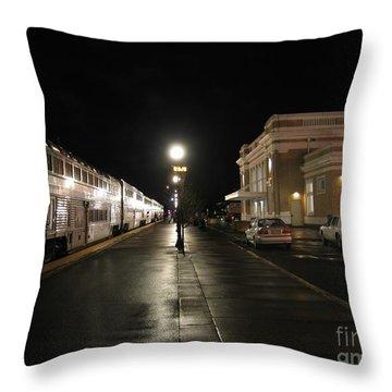 Salem Amtrak Depot At Night Throw Pillow