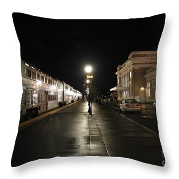 Salem Amtrak Depot At Night Throw Pillow