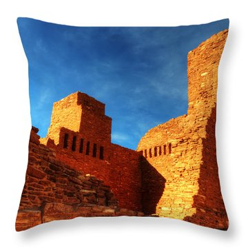 Salinas Pueblo Abo Mission Golden Light Throw Pillow by Bob Christopher