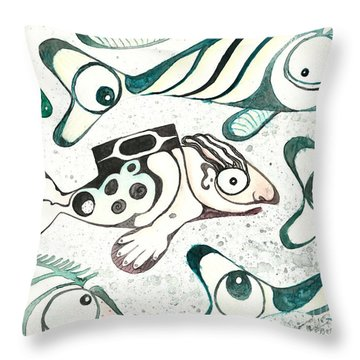 Salmon Boy The Swimmer Throw Pillow by Melinda Dare Benfield