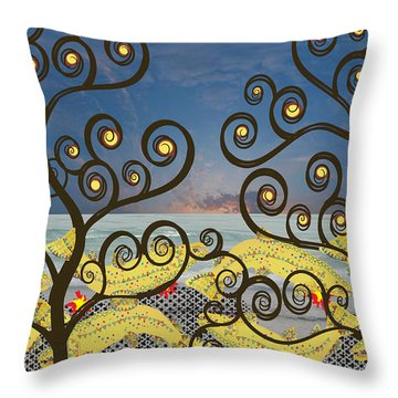 Throw Pillow featuring the digital art Salmon Dance Blue by Kim Prowse