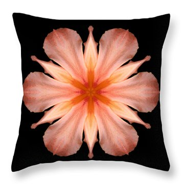 Salmon Daylily I Flower Mandala Throw Pillow by David J Bookbinder