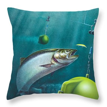 Salmon Dowrigger Throw Pillow by Jon Q  Wright