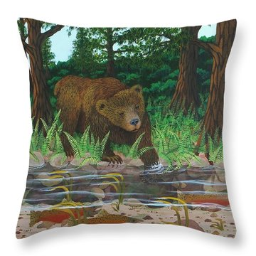 Salmon Fishing Throw Pillow by Katherine Young-Beck
