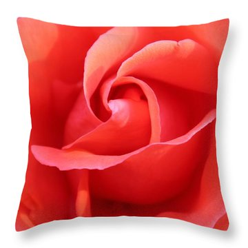 Throw Pillow featuring the photograph Salmon Floral Rose Abstract by Judy Palkimas