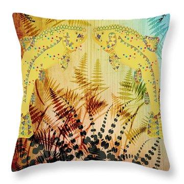 Salmon Love Gold Throw Pillow by Kim Prowse