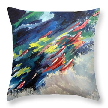 Throw Pillow featuring the painting Salmon Run by Carol Sweetwood