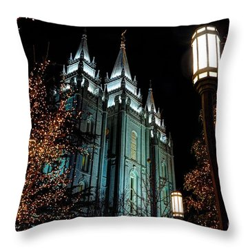 Salt Lake City Mormon Temple Christmas Lights Throw Pillow