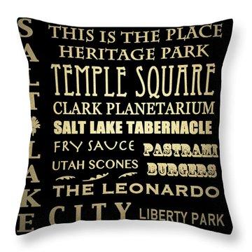 Salt Lake City Famous Landmarks Throw Pillow