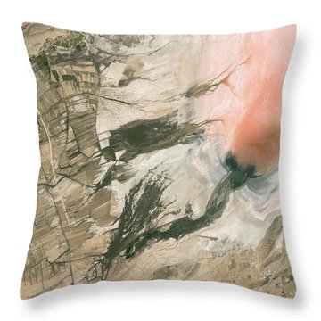 Salt Lake In Iran Throw Pillow