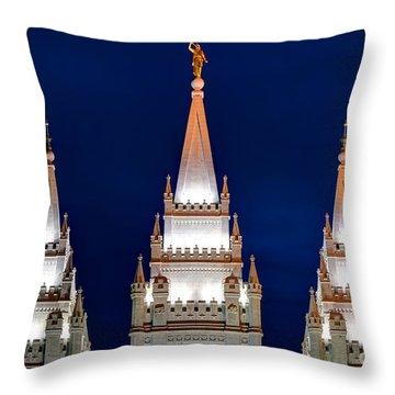 Salt Lake Lds Mormon Temple At Night Throw Pillow by Gary Whitton