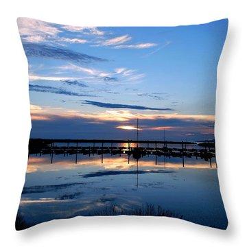 Salt Lake Marina Sunset Throw Pillow by Matt Harang