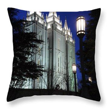 Salt Lake Mormon Temple At Night Throw Pillow by Gary Whitton