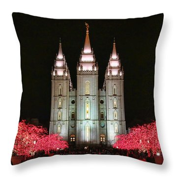 Throw Pillow featuring the photograph Salt Lake Temple - 1 by Ely Arsha