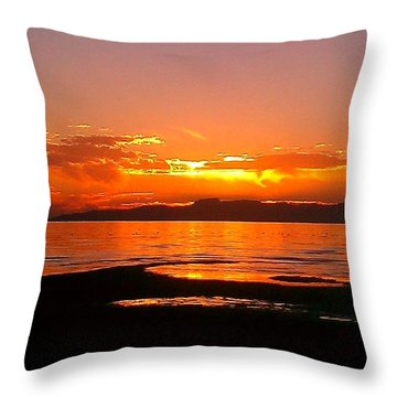 Throw Pillow featuring the photograph Salt Lakes A Fire by Chris Tarpening