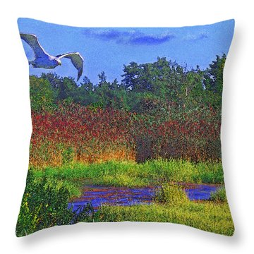 Salt Marsh Gull Throw Pillow