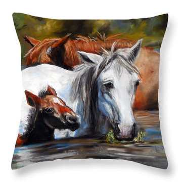 Throw Pillow featuring the pastel Salt River Foal by Karen Kennedy Chatham