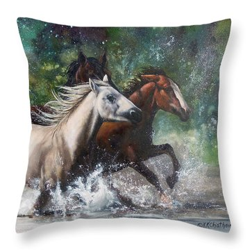 Throw Pillow featuring the painting Salt River Horseplay by Karen Kennedy Chatham