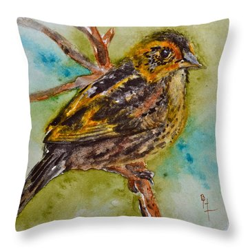 Saltmarsh Sparrow Throw Pillow by Beverley Harper Tinsley