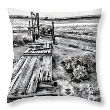 Salton Sea Dock Under Renovation By Diana Sainz Throw Pillow