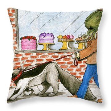 Salty Walks His Ant Eater Throw Pillow