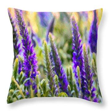 Salvia Sway Throw Pillow by Jean OKeeffe Macro Abundance Art