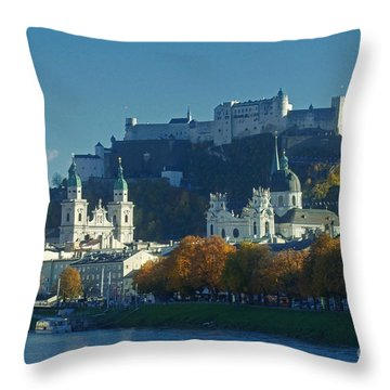 Salzburg Austria In Fall Throw Pillow by Rudi Prott