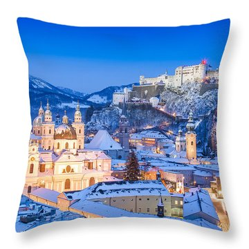 Salzburg In Winter Throw Pillow