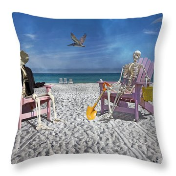 Sam And His Friend Visit Long Boat Key Throw Pillow by Betsy Knapp