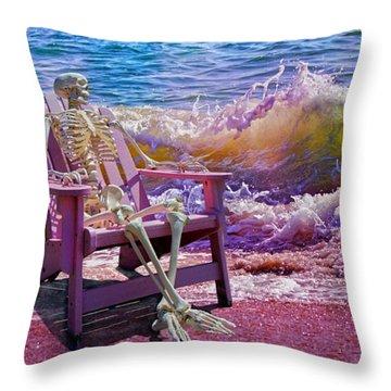 A-loon On The Beach  Throw Pillow
