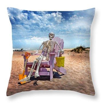 Sam Discovers Bald Head Island Throw Pillow by Betsy Knapp
