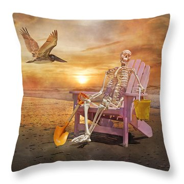 Sam Is Tickled With A Visiting Pelican Throw Pillow by Betsy Knapp