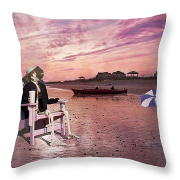 Sam Takes A Break From Kayaking Throw Pillow by Betsy Knapp