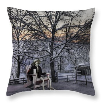 Sam Visits Winter Wonderland Throw Pillow by Betsy Knapp